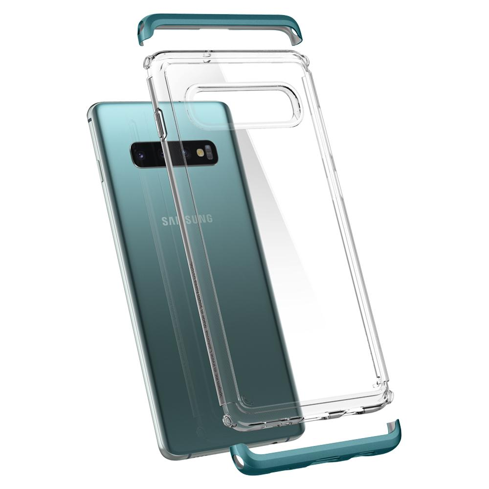 Neo Hybrid NC	Green Case	back design and a back view of the	Galaxy S10	device.