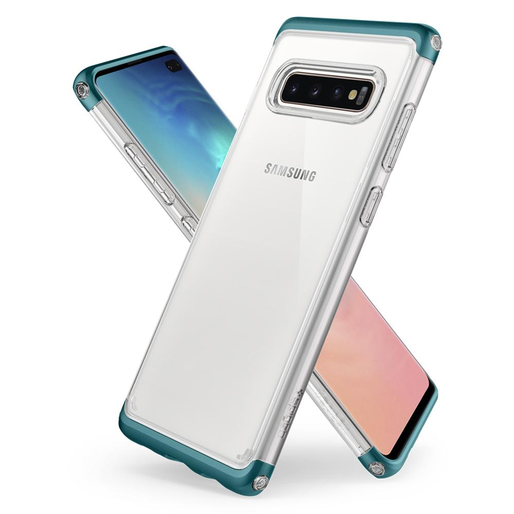 Neo Hybrid NC	Green Case	back design overlapping the front view of the	Galaxy S10+	device.