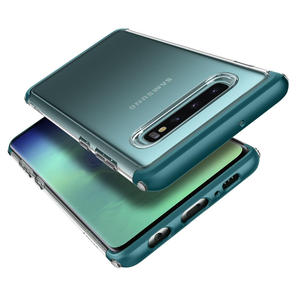 Neo Hybrid NC	Green Case	back design and a front view of the edge around the	Galaxy S10+	device.