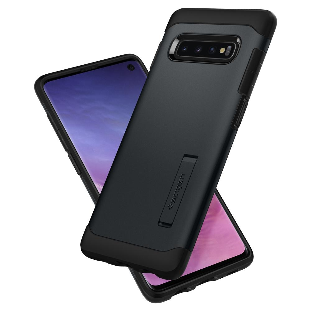 Slim Armor	Metal Slate	Case	back design overlapping the front view of the	Galaxy S10	device.