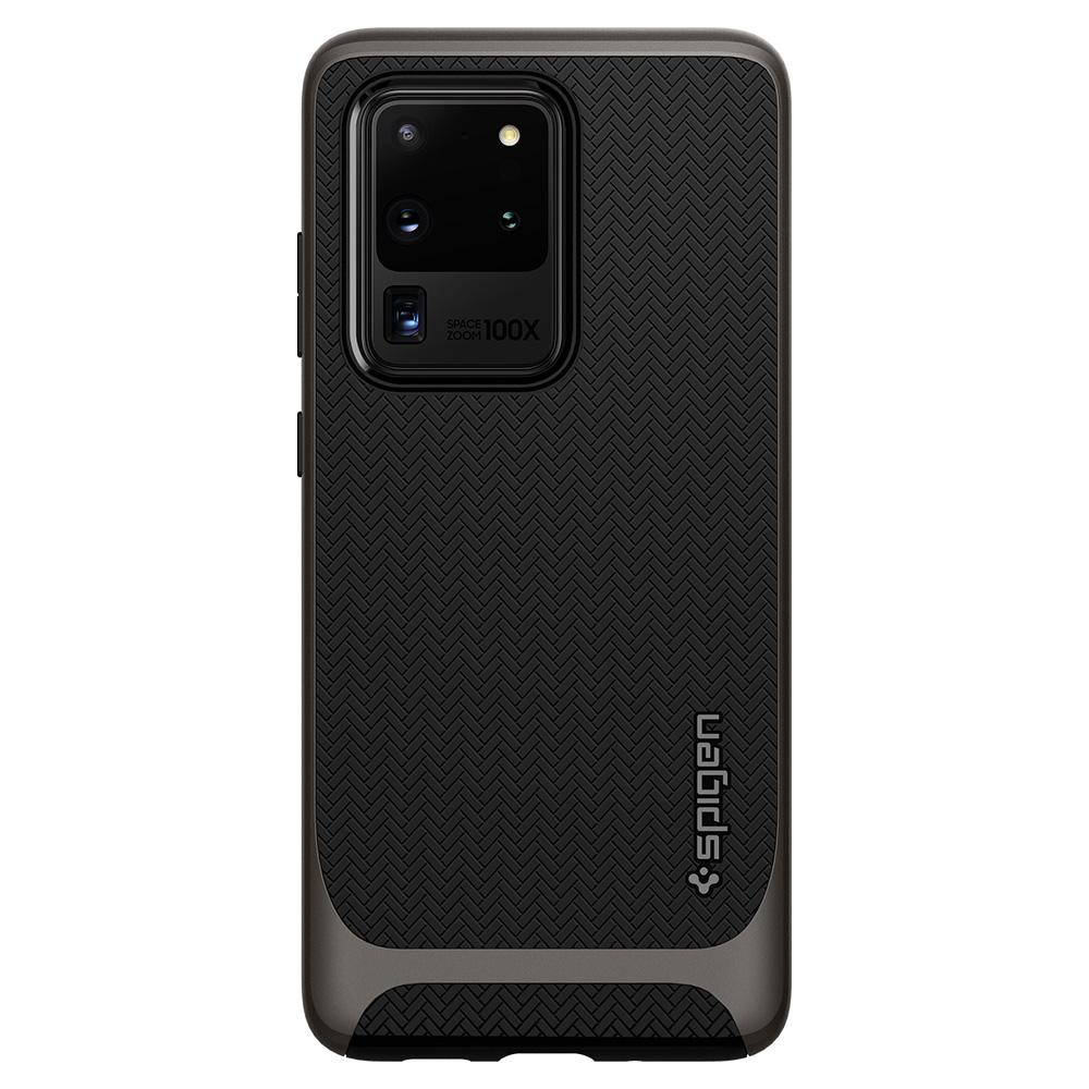 Neo Hybrid	Gunmetal	Case	facing backwards showing the back design with the camera cutout on the	Galaxy S20 Ultra	device.