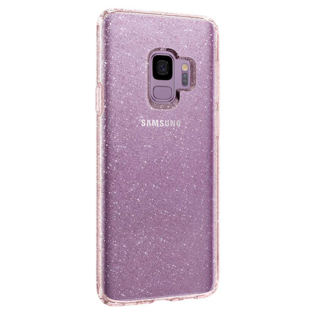 Liquid Crystal Glitter	Rose Quartz	Case	facing backwards showing the back design with the camera cutout on the	Galaxy S9	device.