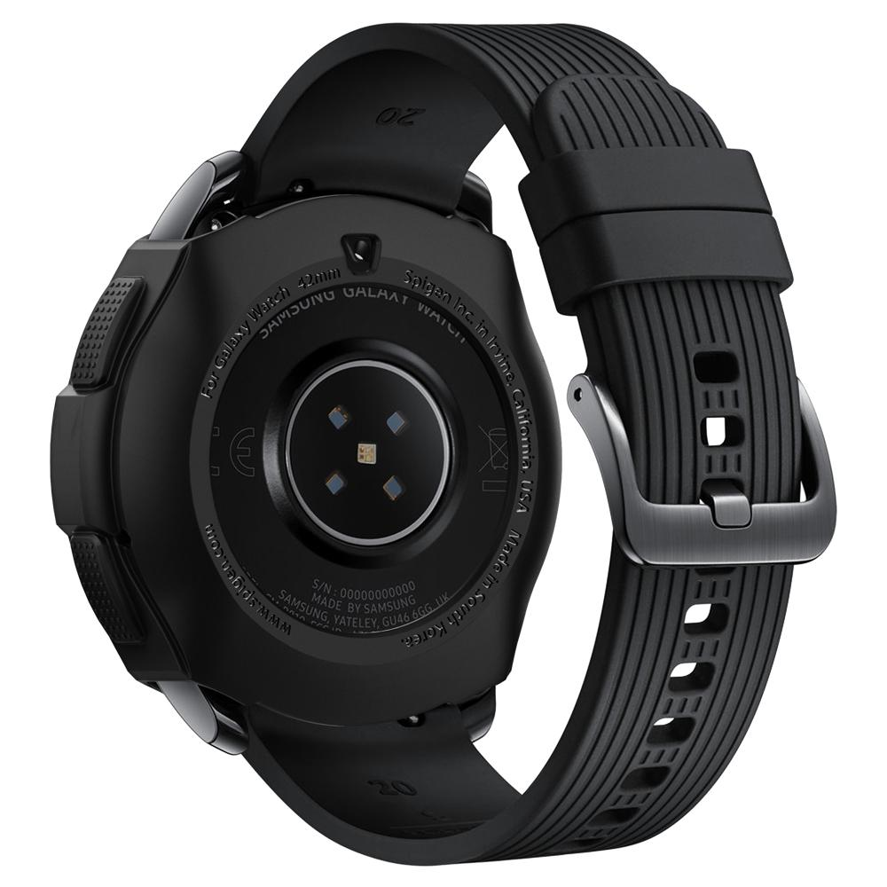 Rugged Armor	Black	Case	showing the back design on the	Galaxy Watch (42mm)	device.