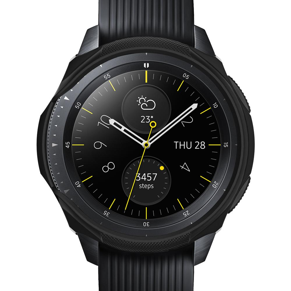 Rugged Armor	Black	Case	showing a front facing view of the edges around the	Galaxy Watch (42mm)	device.