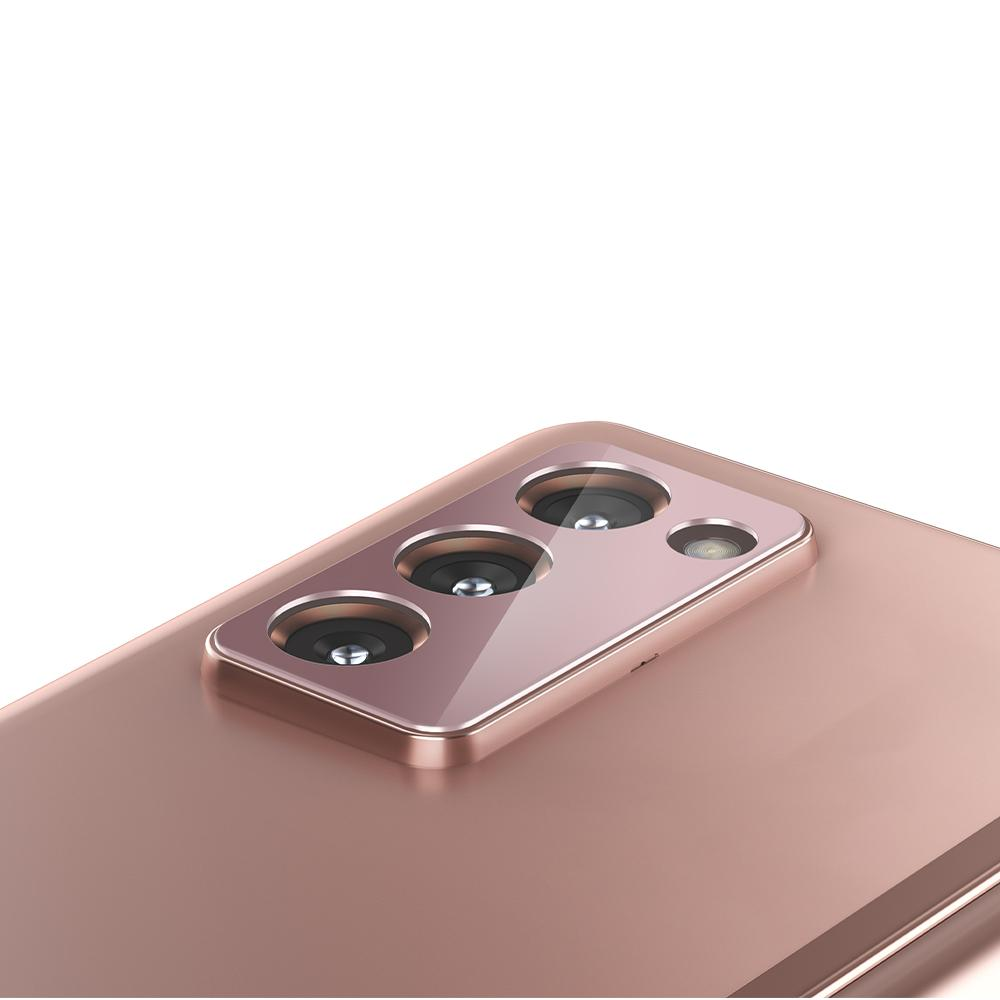 Galaxy Z Fold 2 Optik Lens Protector showing the bronze lens protector on device camera lens