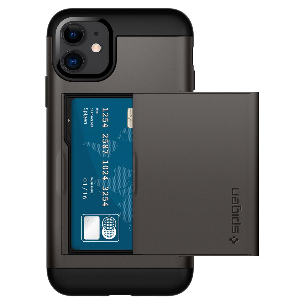 Slim Armor CS	Case	Gunmetal	facing backwards showing the back design with the camera cutout on the	iPhone 11	device.