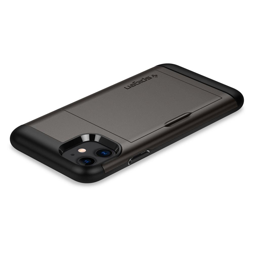 Slim Armor CS	Case	Gunmetal	showing the back design on the	iPhone 11	device.