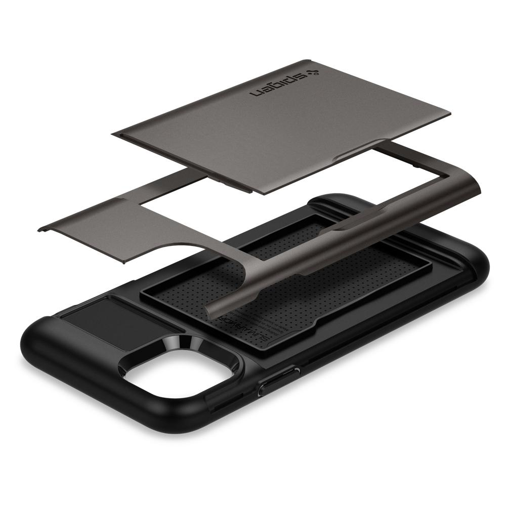 Slim Armor CS	Case	Gunmetal	separated showing the outer PC layer, the inner TPU layer and the	iPhone 11	device.