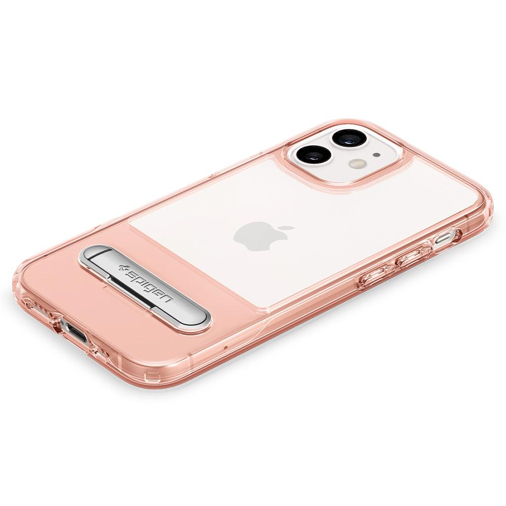 iPhone 12 Mini Case Slim Armor Essential S in rose crystal showing the back with device laying flat on surface