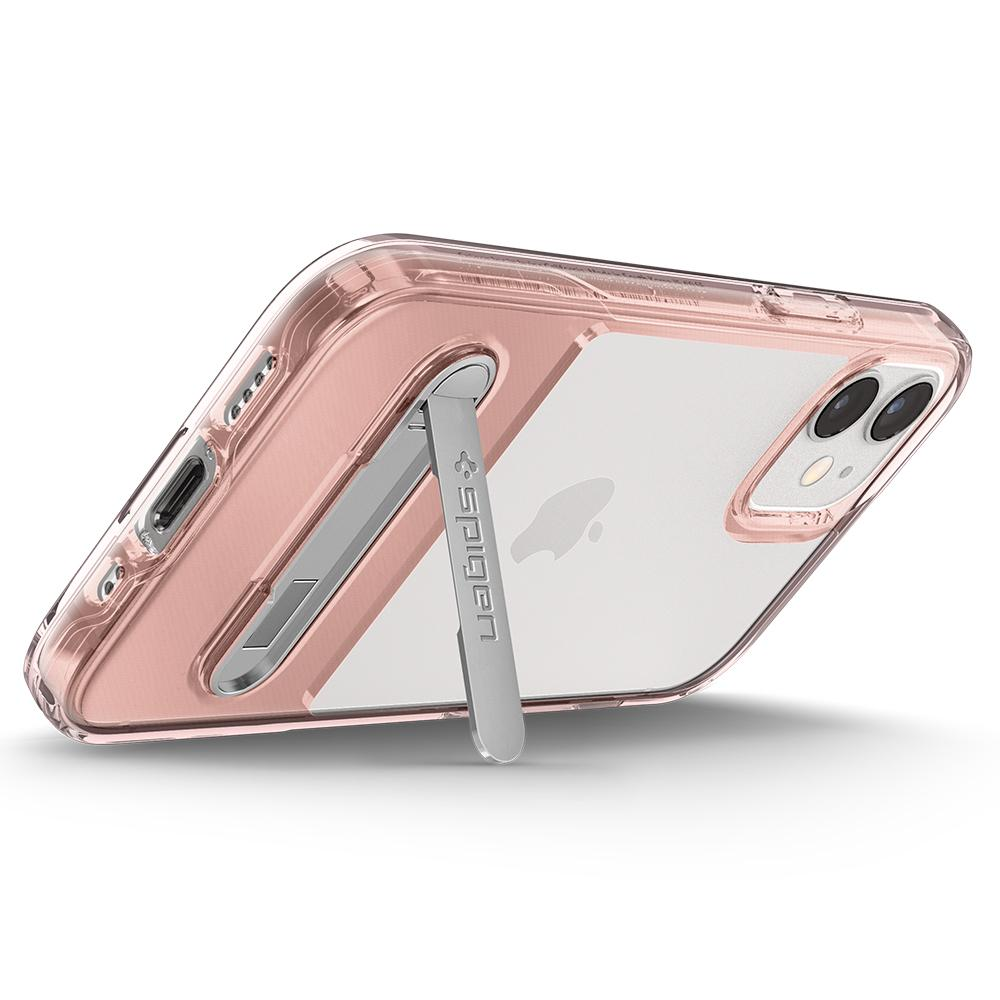 iPhone 12 Mini Case Slim Armor Essential S in rose crystal showing the back propped up horizontally with kickstand