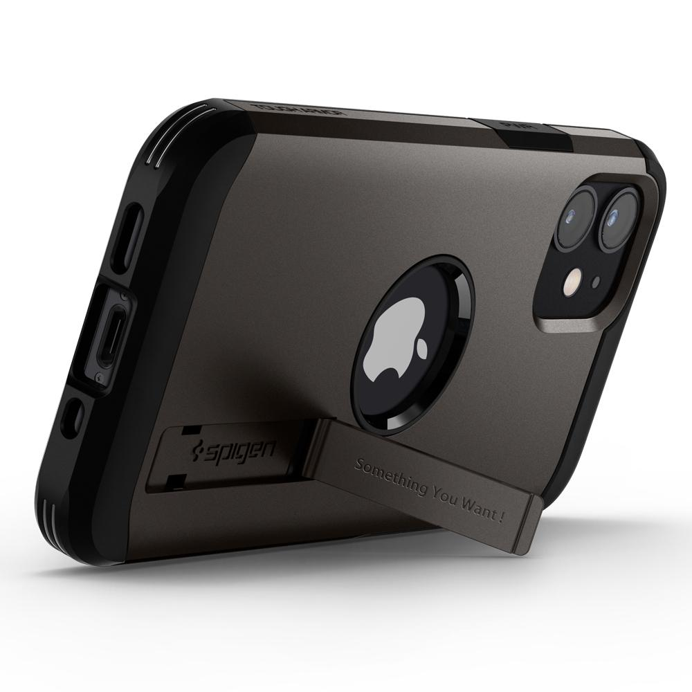 Gunmetal iPhone 12 Mini Case Tough Armor showing the back of phone propped up horizontally with kickstand