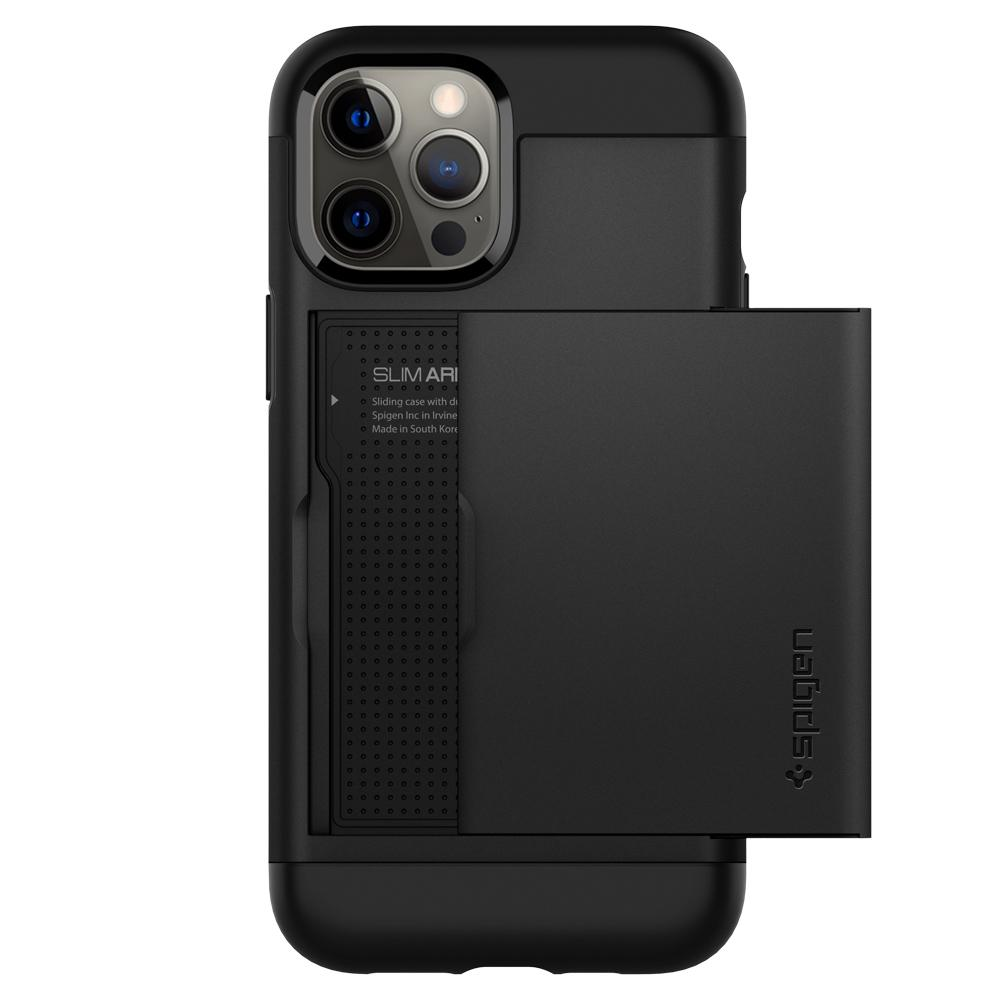 iPhone 12 Pro Max Case Slim Armor CS in black showing the back with card slot slightly open