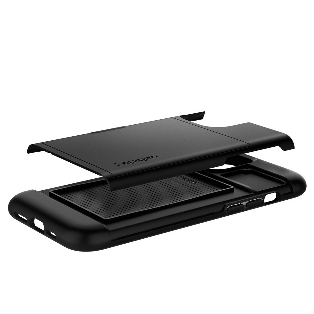 iPhone 12 Pro Max Case Slim Armor CS in black showing the back with card slot layer exposed