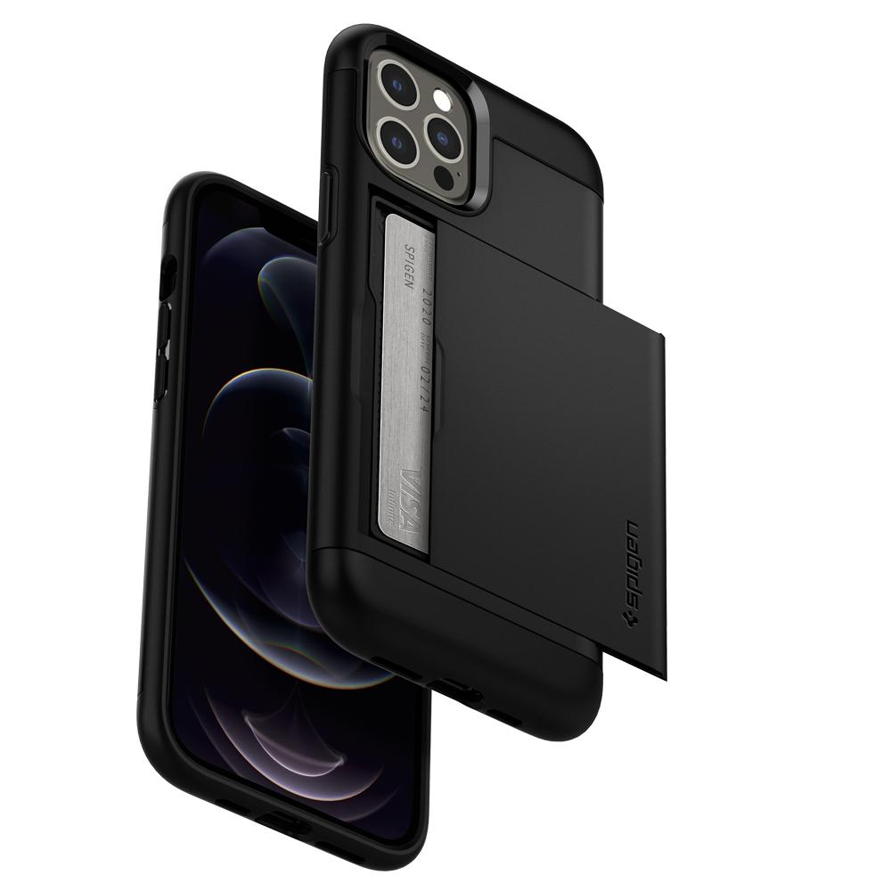 iPhone 12 Pro Max Case Slim Armor CS in black showing the front and back of phone from a bottom angle with card slot slightly open