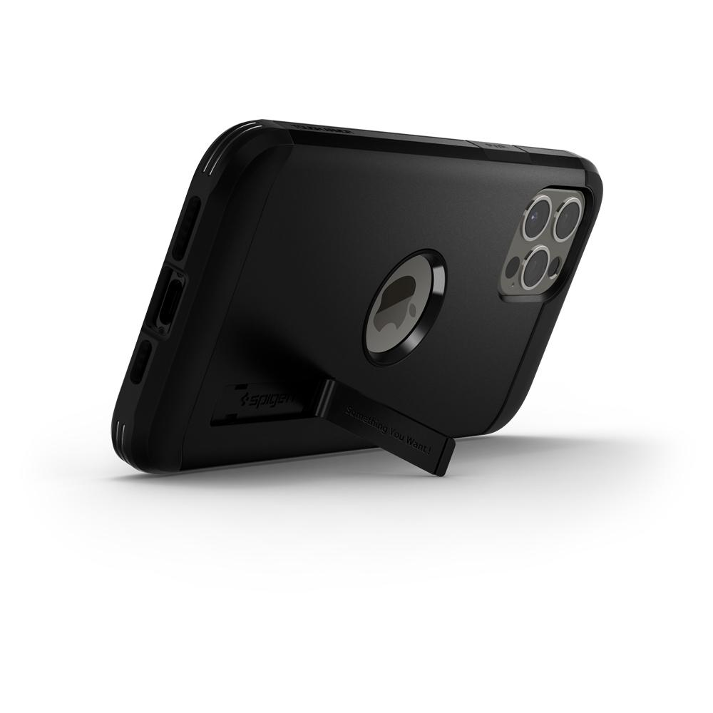 Black iPhone 12 Pro Max Case Tough Armor showing the back of phone propped up horizontally with kickstand