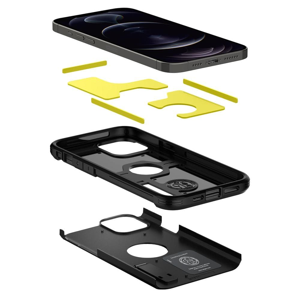 iPhone 12 Pro Max Case Tough Armor showing the three layers: PC, TPU, Impact foam