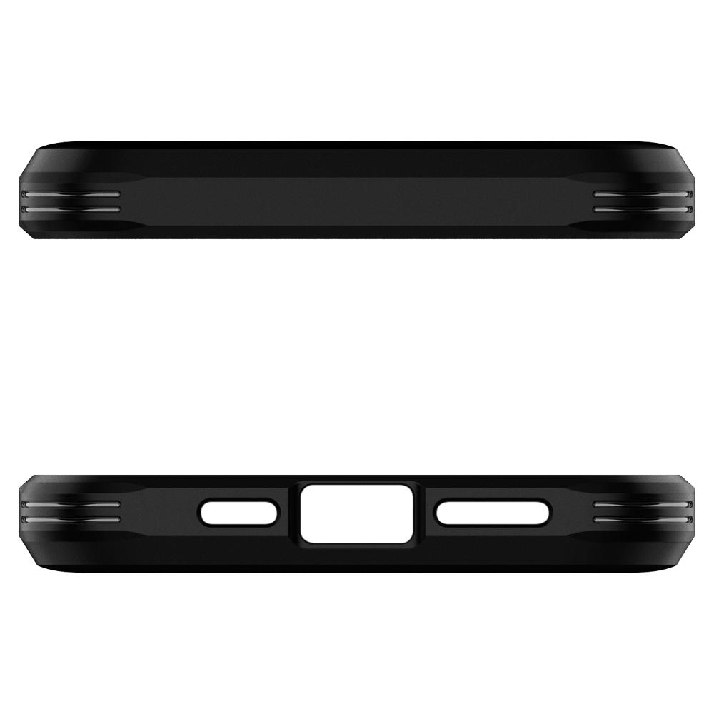 Black iPhone 12 Pro Max Case Tough Armor showing the top and bottom with cut outs