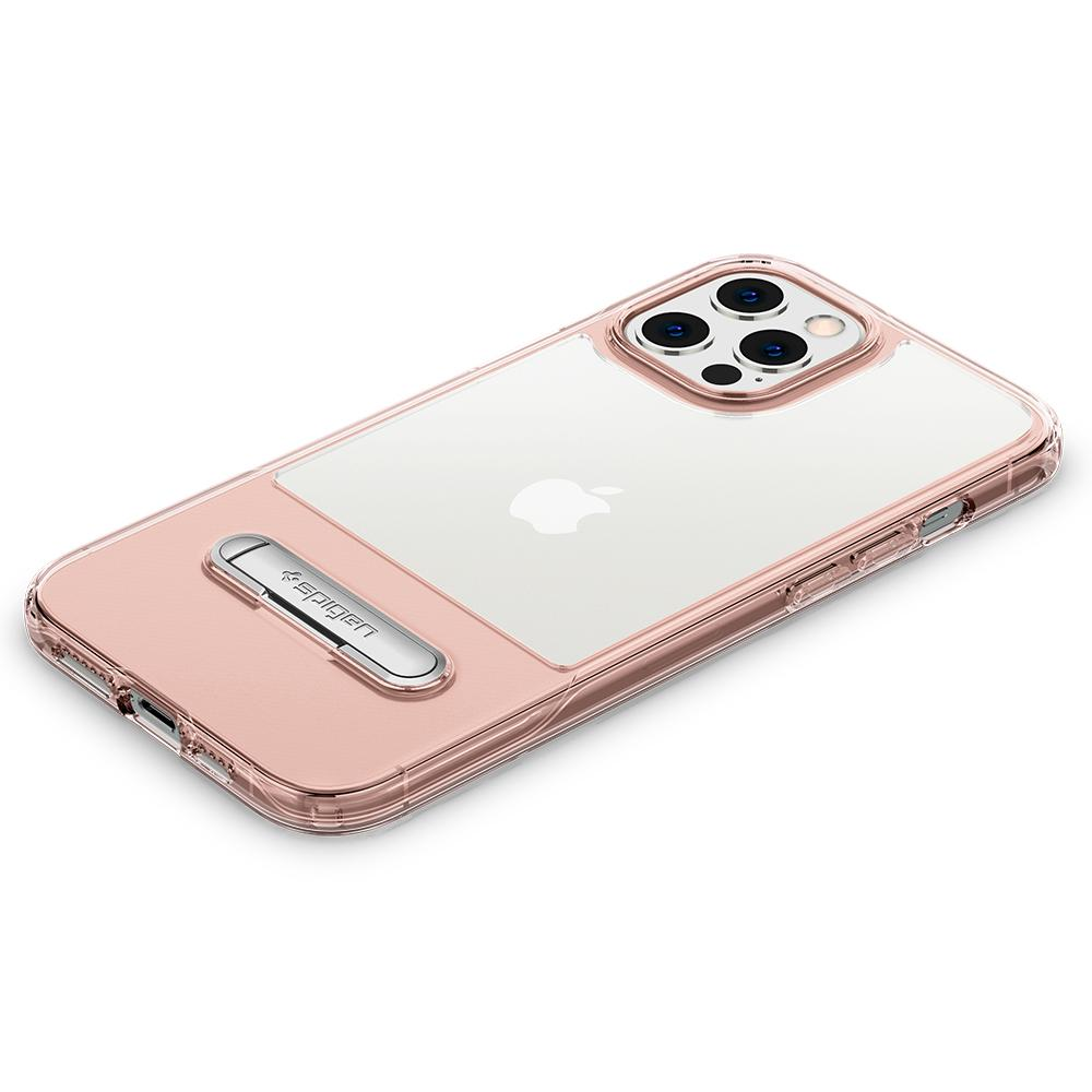 iPhone 12 Pro Max Case Slim Armor Essential S in rose crystal showing the back with device laying flat on surface