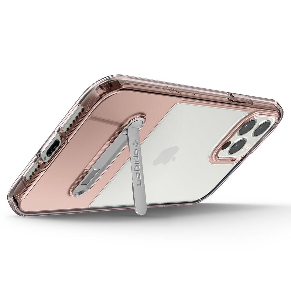 iPhone 12 Pro Max Case Slim Armor Essential S in rose crystal showing the back propped up horizontally with kickstand
