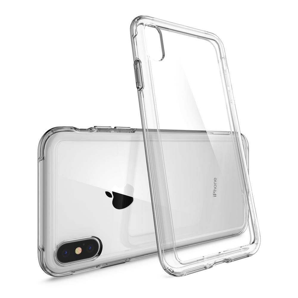 Slim Armor Crystal Dark Crystal Case	back design and a back view of the	iPhone XS/X	device.