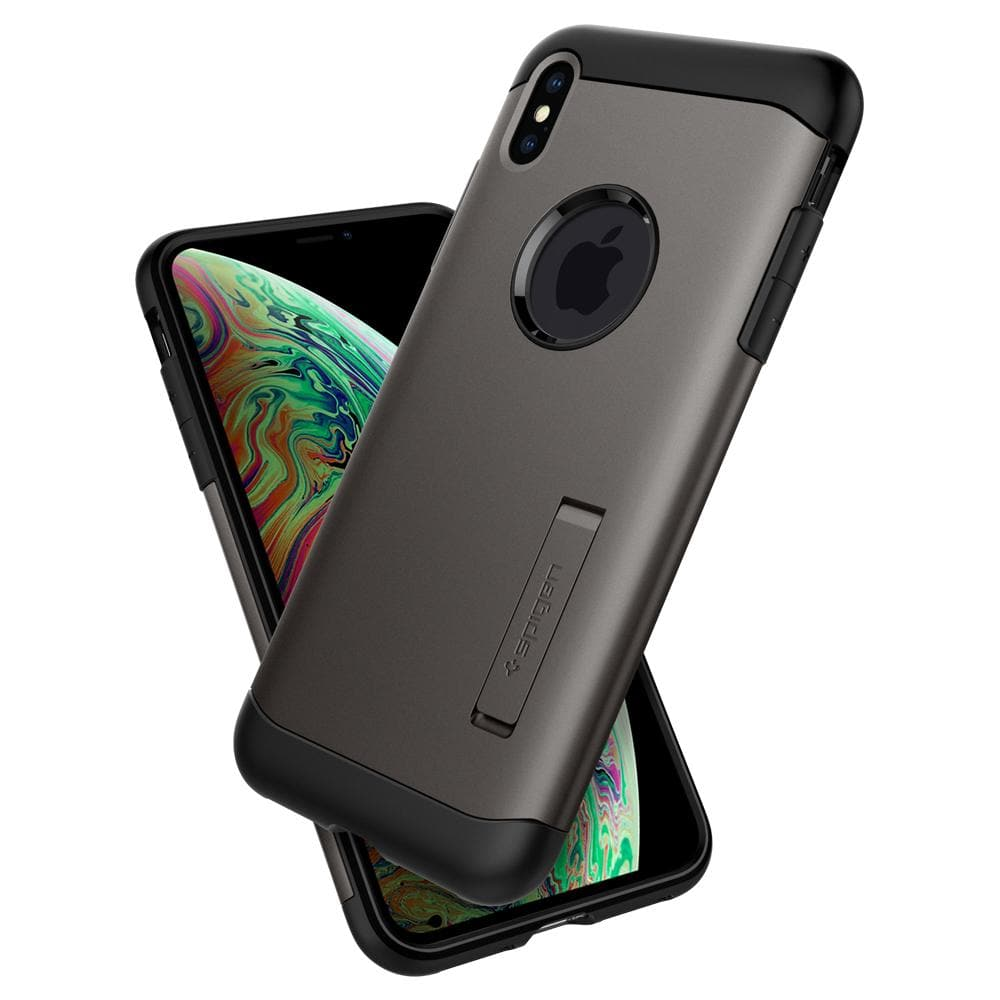 Slim Armor	Gunmetal	Case	back design overlapping the front view of the	iPhone XS/X	device.