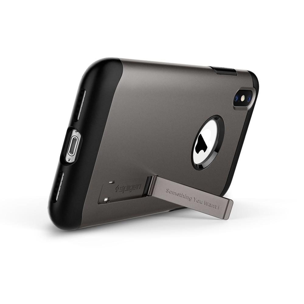 Slim Armor	Gunmetal	Case	angled backwards showing the back design focusing on the kickstand feature.	iPhone XS/X	device.
