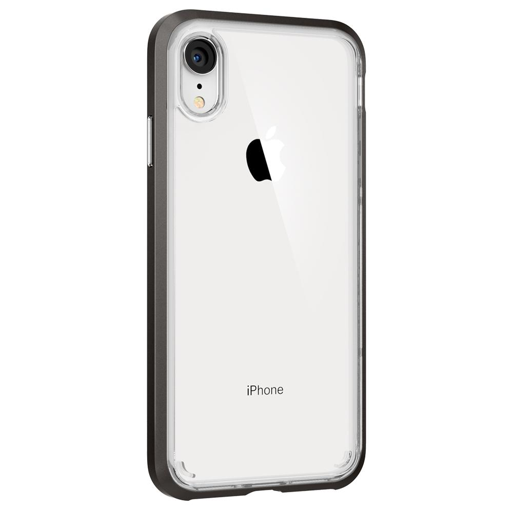 Neo Hybrid Crystal	Gunmetal	Case	facing backwards showing the back design with the camera cutout on the	iPhone XR	device.