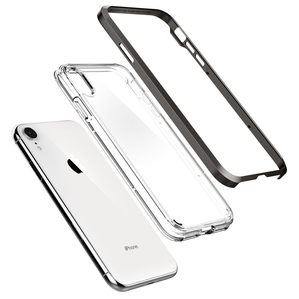 Neo Hybrid Crystal	Gunmetal	Case	separated showing the outer PC layer, the inner TPU layer, and the	iPhone XR	device.