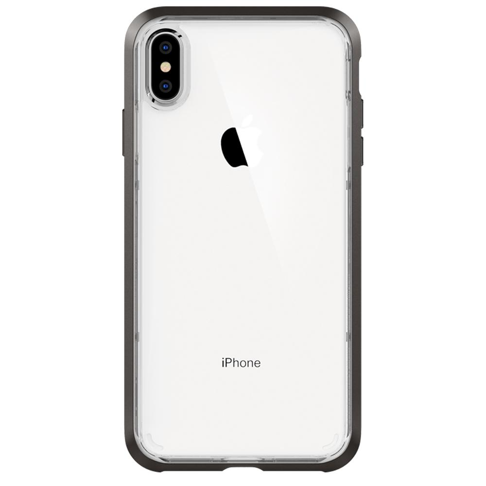 Neo Hybrid Crystal	Gunmetal	Case	facing backwards showing the back design with the camera cutout on the	iPhone XS Max	device.