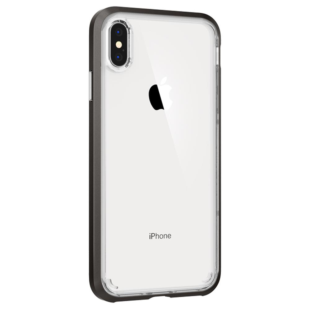 Neo Hybrid Crystal	Gunmetal	Case	showing the back design on the	iPhone XS Max	device.