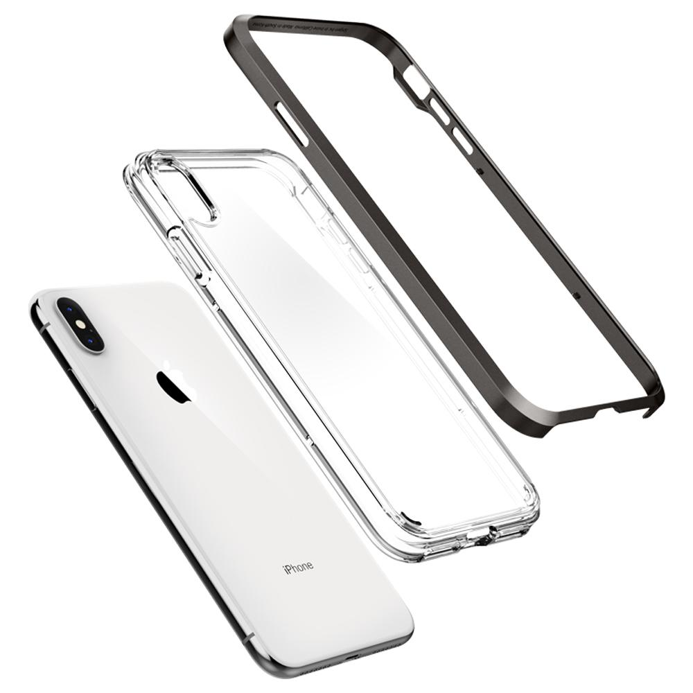 Neo Hybrid Crystal	Gunmetal	Case	separated showing the outer PC layer, the inner TPU layer, and the	iPhone XS Max	device.