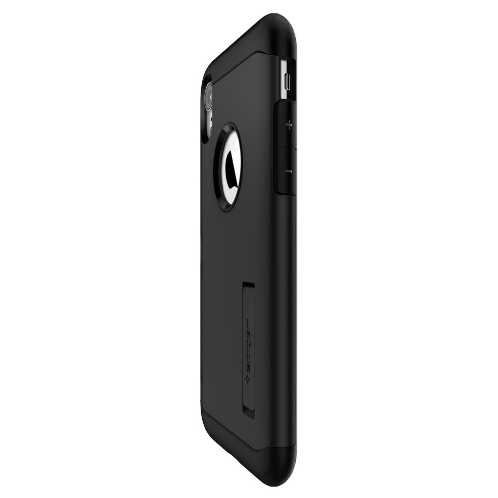 Slim Armor	Black	Case	showing the back design on the	iPhone XR	device.