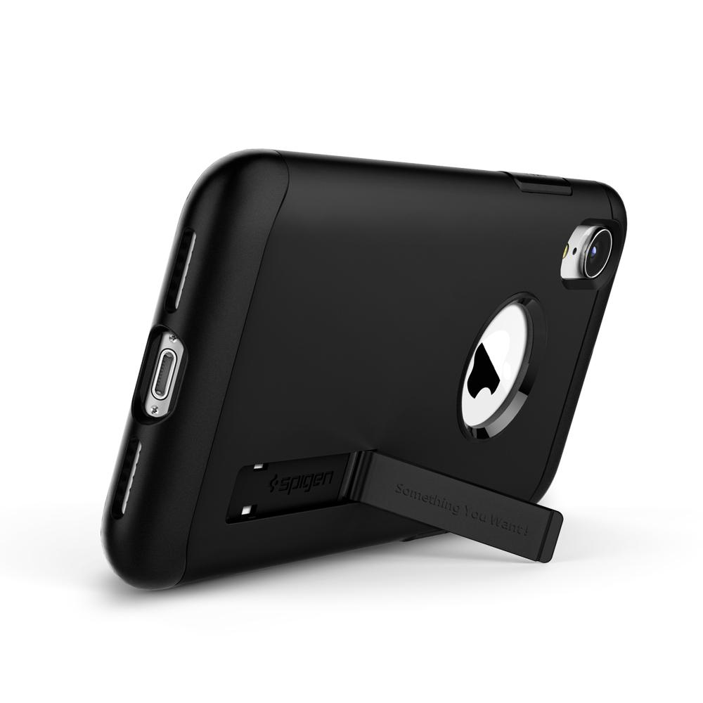 Slim Armor	Black	Case	angled backwards showing the back design focusing on the kickstand feature.	iPhone XR	device.