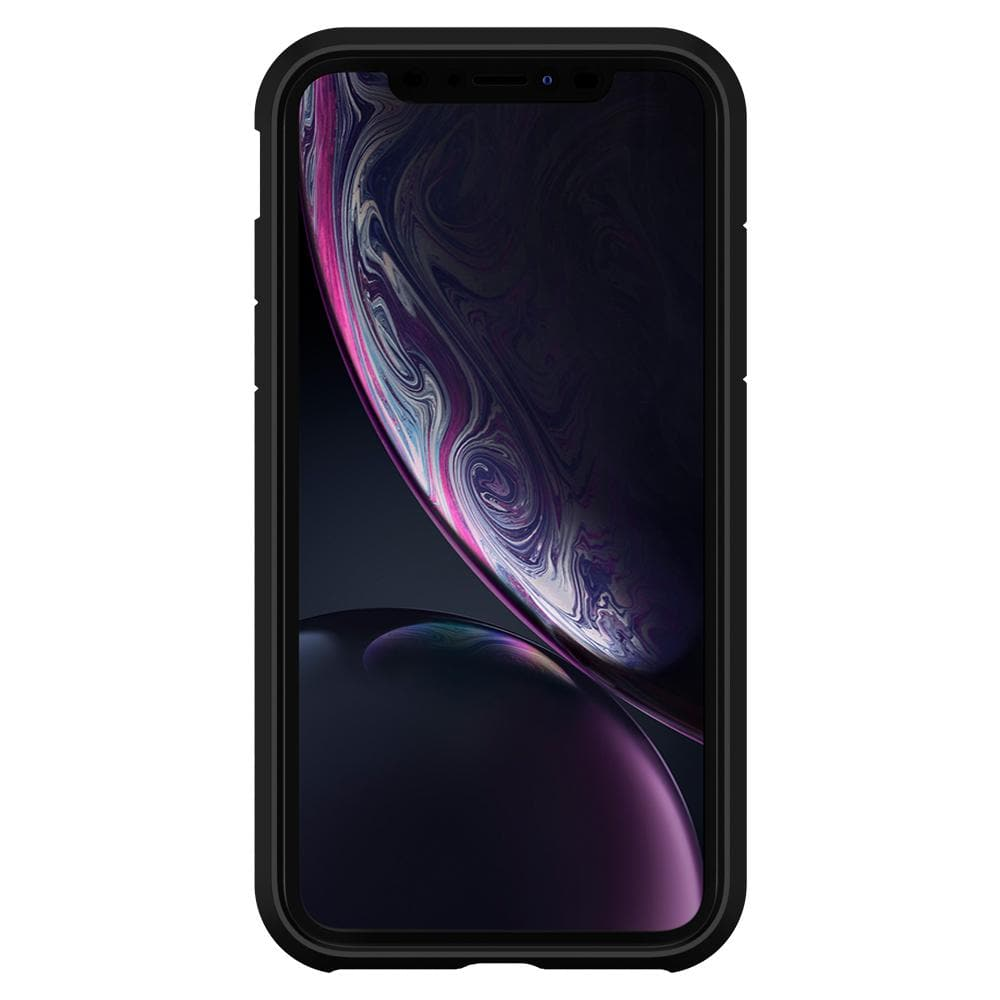 Tough Armor	Black	Case	showing a front facing view of the edges around the	iPhone XR	device.