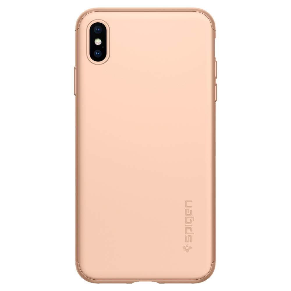 Thin Fit 360 Blush Gold Case facing backwards showing the back design with the camera cutout on the iPhone XS Max device.