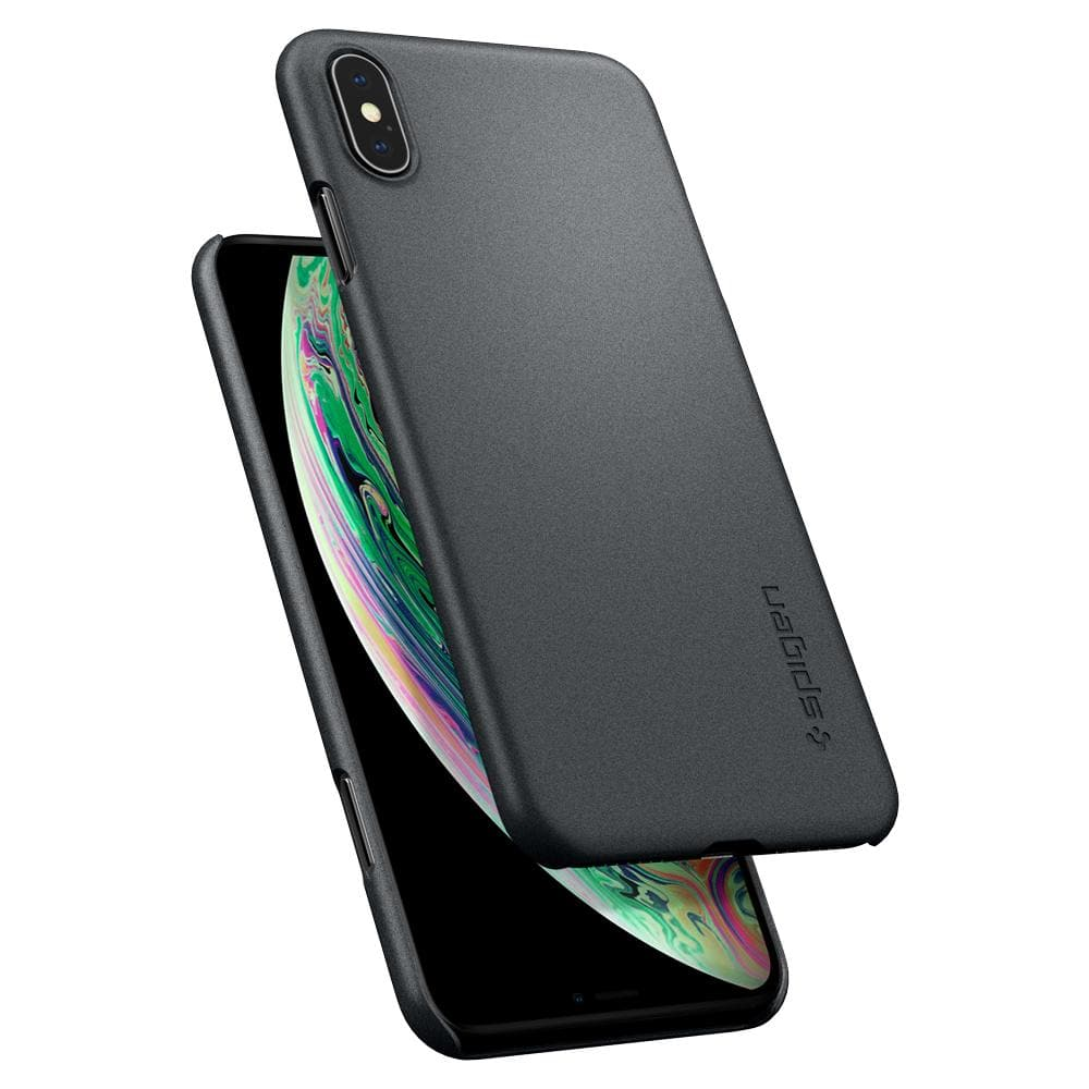Thin Fit	Graphite Gray Case	back design and a front view of the edge around the	iPhone XS Max	device.