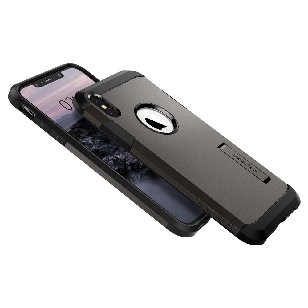 Tough Armor (Ver.2)	Gunmetal	Case	back design overlapping the front view of the	iPhone XS Max	device.