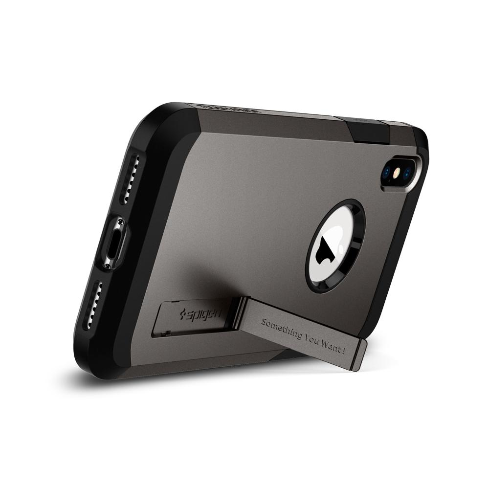 Tough Armor (Ver.2)	Gunmetal	Case	angled backwards showing the back design focusing on the kickstand feature.	iPhone XS Max	device.