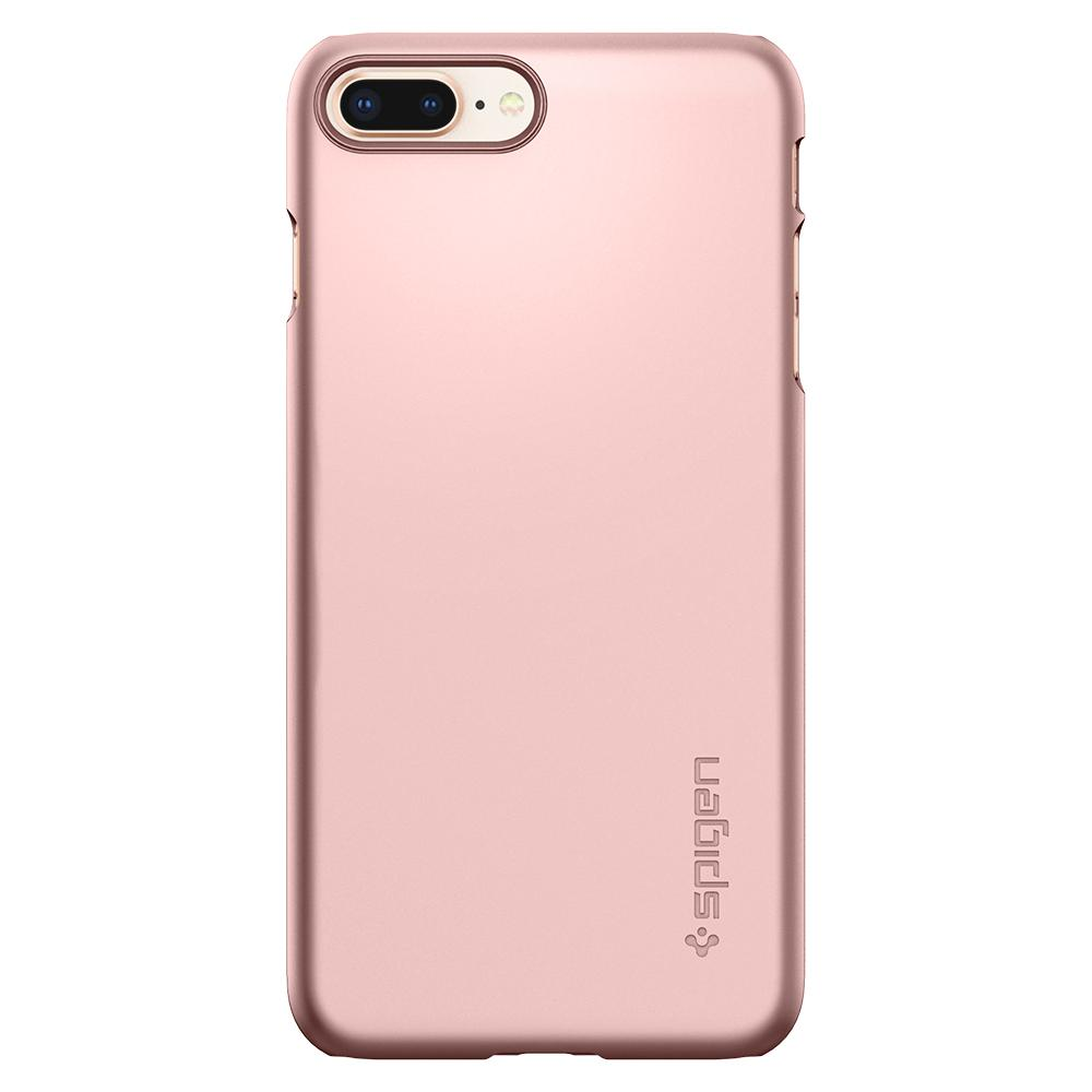 Thin Fit	Rose Gold Case	facing backwards showing the back design with the camera cutout on the	iPhone 8 Plus	device.