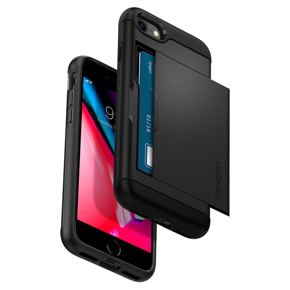 Slim Armor CS	Black	Case	back design and a front view of the edge around the	iPhone 8	device.