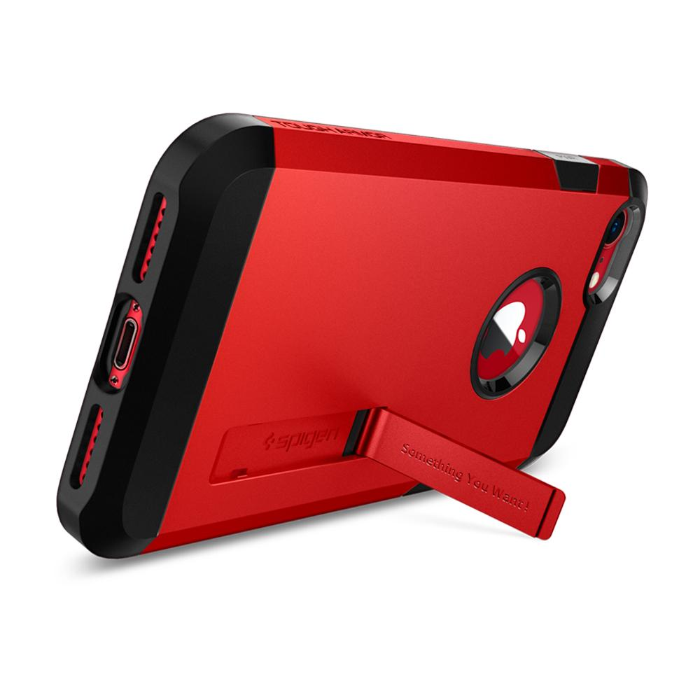 Tough Armor 2	Red	Case	angled backwards showing the back design focusing on the kickstand feature	iPhone 8/7	device.