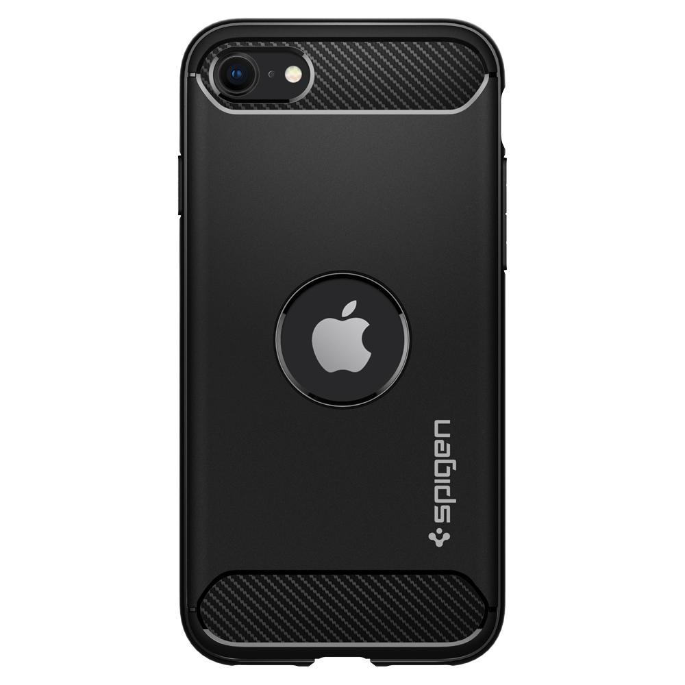 iPhone SE (2020) Case Rugged Armor in black showing the back
