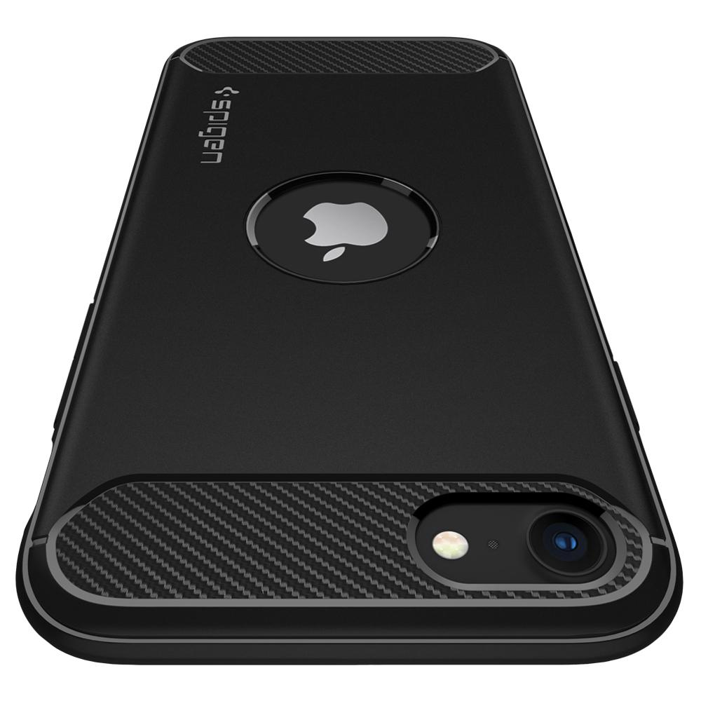iPhone SE (2020) Case Rugged Armor in black showing the back from top to bottom angle to highlight the camera lens