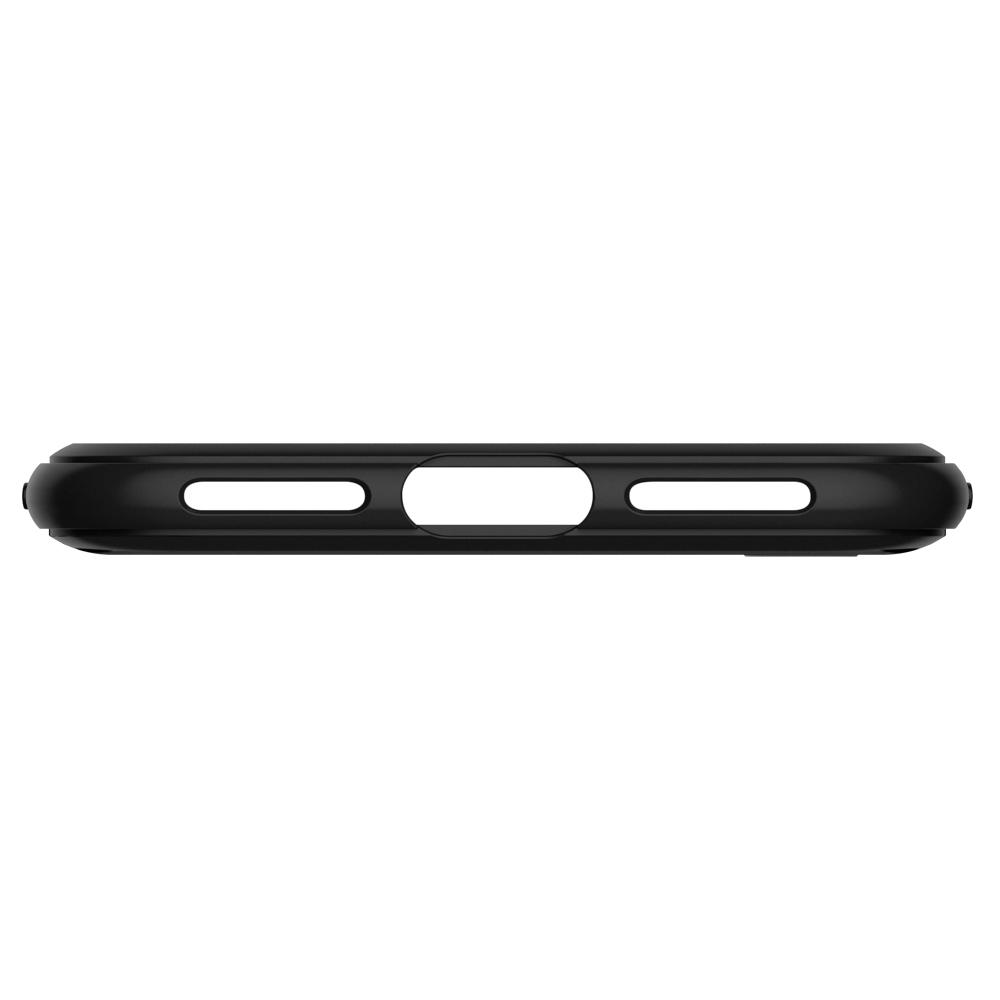 iPhone SE (2020) Case Rugged Armor in black showing the bottom with cut outs