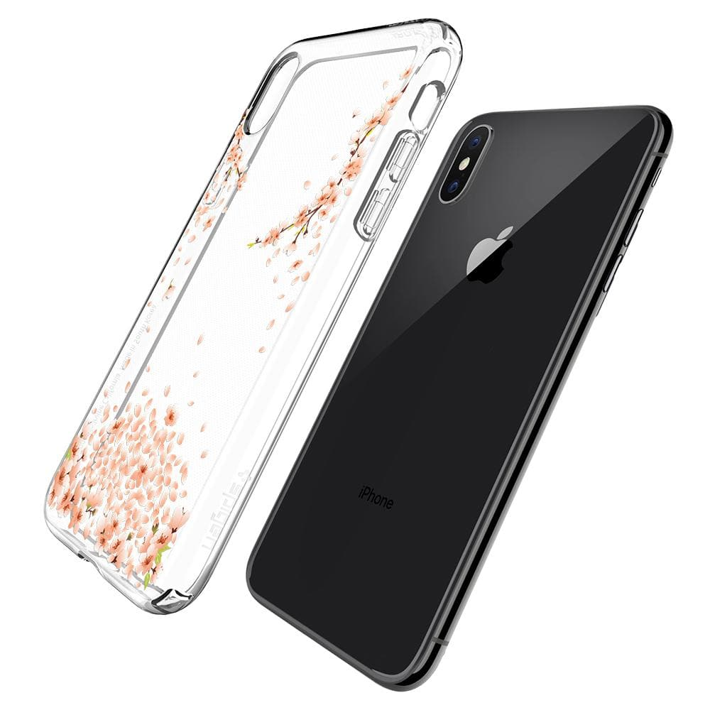 Liquid Crystal Blossom	Crystal Clear	Case	back design and a back view of the	iPhone XS/X	device.