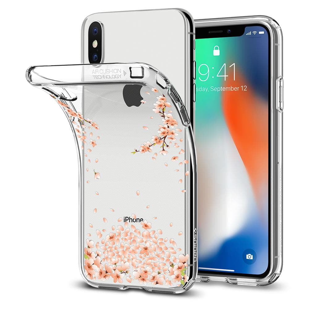 Liquid Crystal Blossom	Crystal Clear	Case	attached and bending away from the	iPhone XS/X	device.
