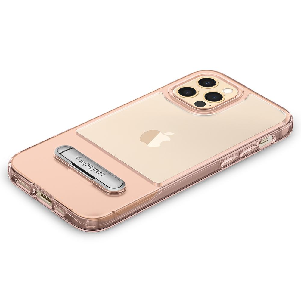 iPhone 12 / iPhone 12 Pro Case Slim Armor Essential S in rose crystal showing the back with device laying flat on surface