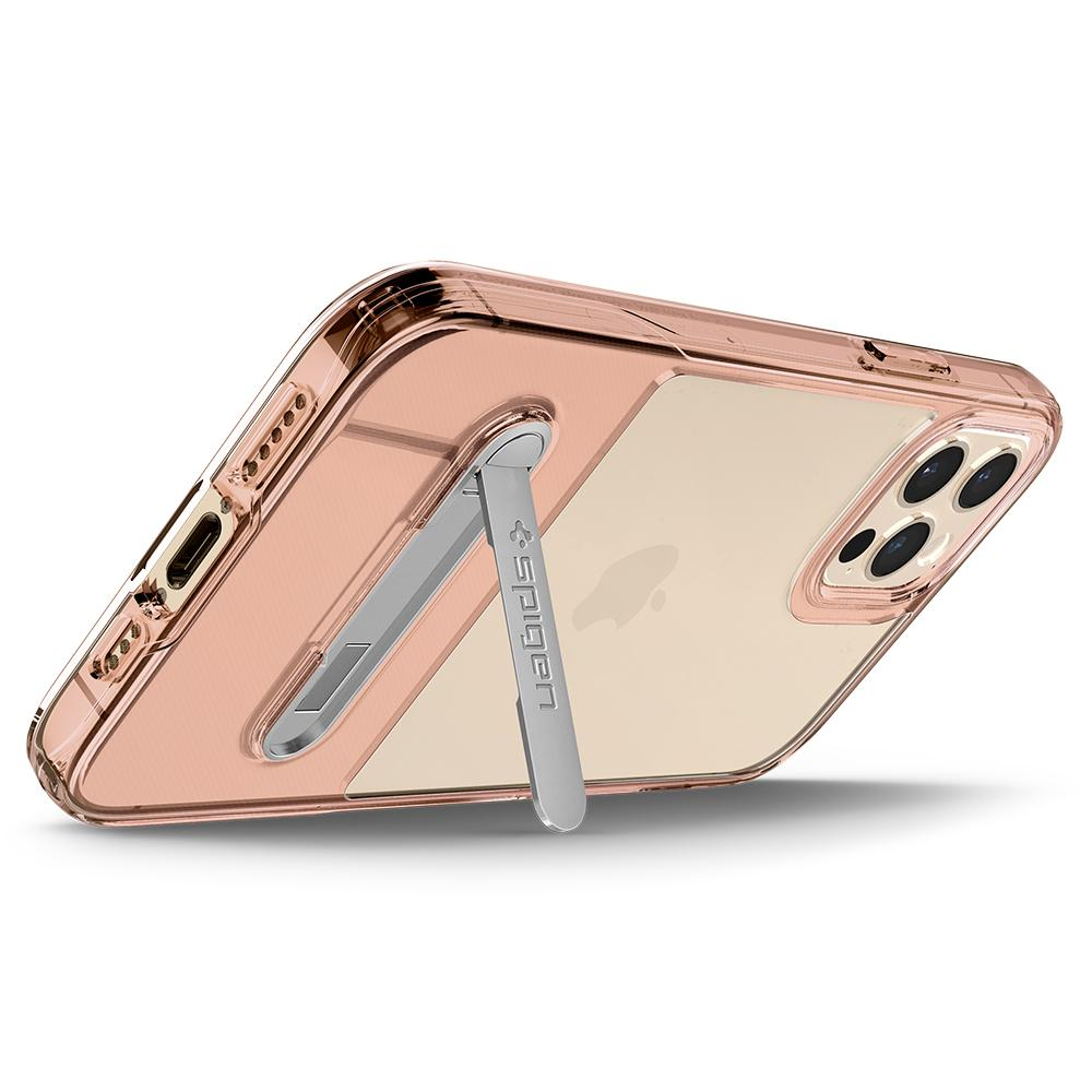 iPhone 12 / iPhone 12 Pro Case Slim Armor Essential S in Rose crystal showing the back propped up horizontally with kickstand