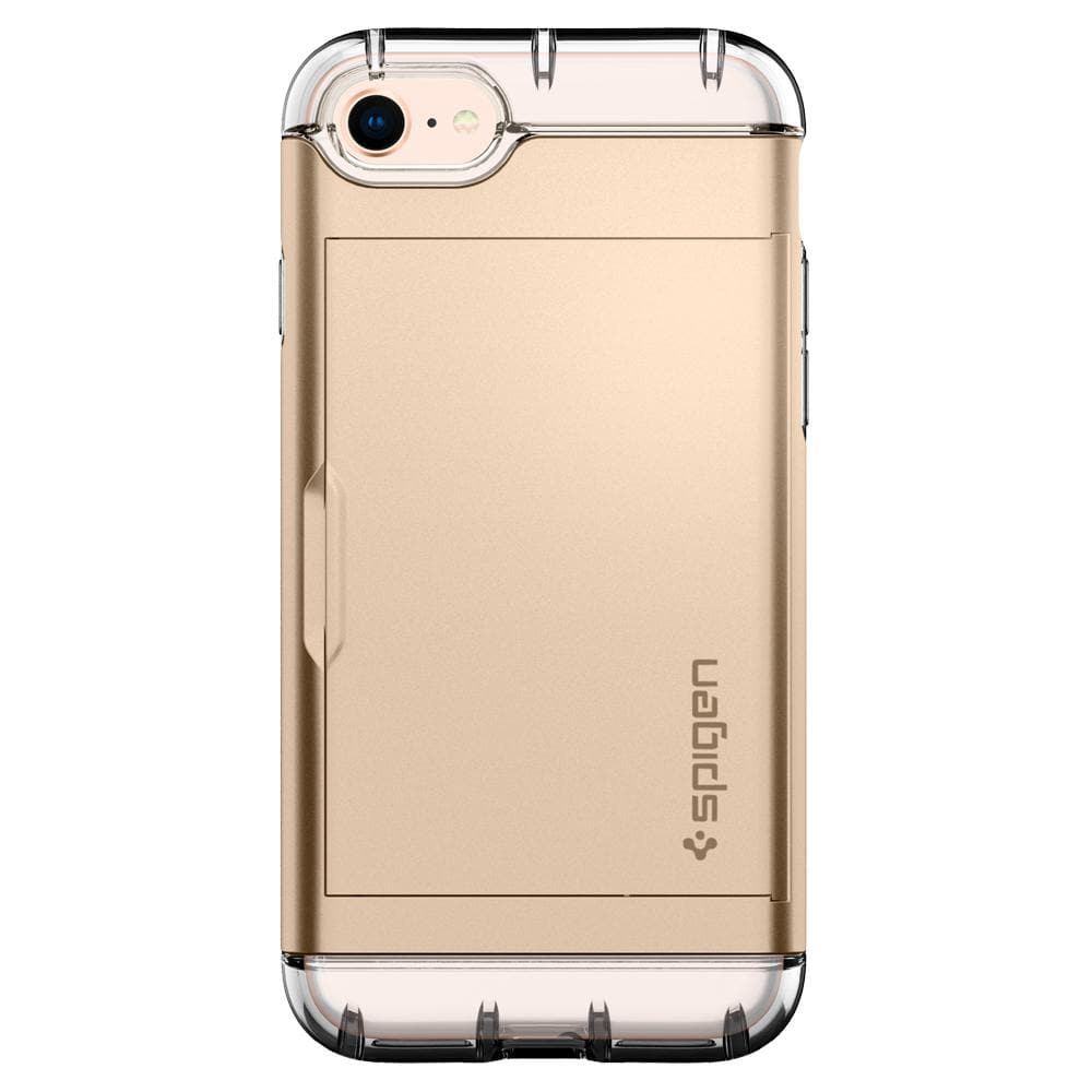 Crystal Wallet	Champagne Gold	Case	facing backwards showing the back design with the camera cutout on the	iPhone 8	device.