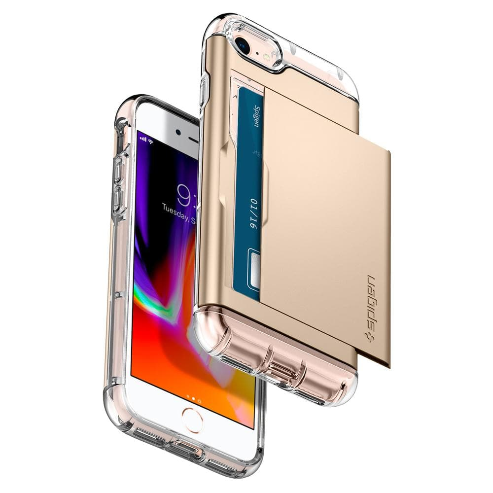 Crystal Wallet	Champagne Gold	Case	back design and a front view of the edge around the	iPhone 8	device.